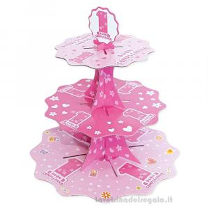 Alzatina One Pink Primo Compleanno bimba 35 cm - Party allestimento
