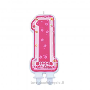 Candelina One Pink in cera Primo Compleanno bimba 12 cm - Party torta