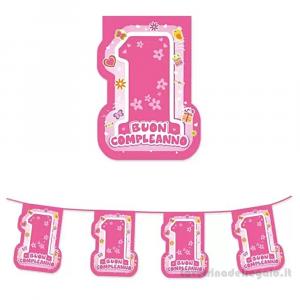 Ghirlanda bandierine One Pink Primo Compleanno bimba 6 mt - Party allestimento