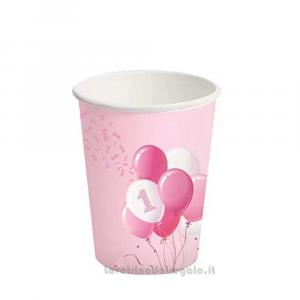 8 pz - Bicchieri con palloncini rosa Primo Compleanno bimba - Party tavola