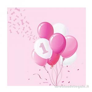 20 pz - Tovaglioli con palloncini rosa Primo Compleanno bimba 33x33 cm - Party tavola