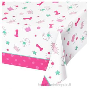Tovaglia Doodle rosa Primo Compleanno bimba 140x260 cm - Party tavola