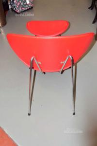 Poltrona + Poggia Piedi In Pelle Rossa Con Struttura In Acciaio Made In Italy