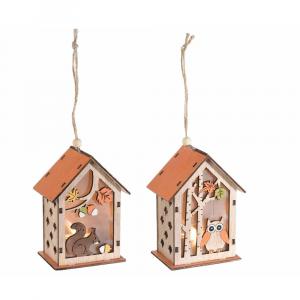 Casetta in legno autunnale con luce led da appendere