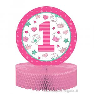 Centrotavola Doodle rosa Primo Compleanno bimba 23x30 cm - Party tavola