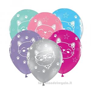 5 pz - Palloncini in lattice con gattini Compleanno bimba 30 cm - Party allestimento