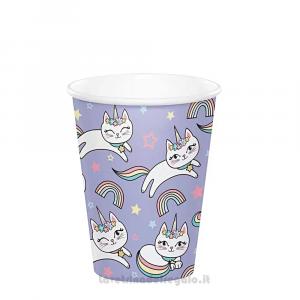 8 pz - Bicchieri Sassy Caticorn con gattine Compleanno bimba - Party tavola