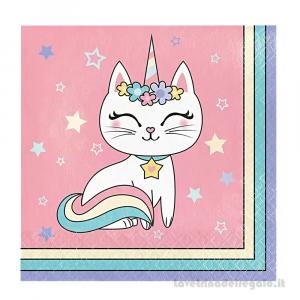 16 pz - Tovaglioli Sassy Caticorn gattina Compleanno bimba 33x33 cm - Party tavola