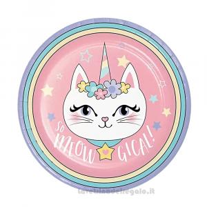 8 pz - Piatti Sassy Caticorn gattina Compleanno bimba 23 cm - Party tavola