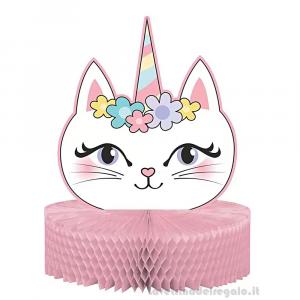 Centrotavola Sassy Caticorn gattina Compleanno bimba 23x30 cm - Party tavola