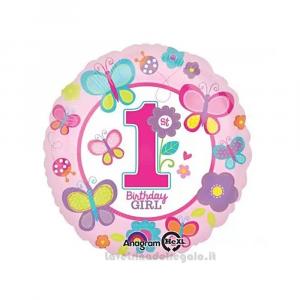 Palloncino Foil rosa con farfalle Primo Compleanno bimba 43 cm - Party allestimento