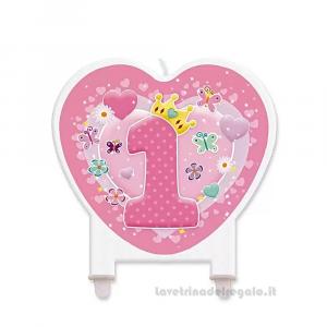 Candelina Cuore rosa in cera Primo Compleanno bimba 12 cm - Party torta