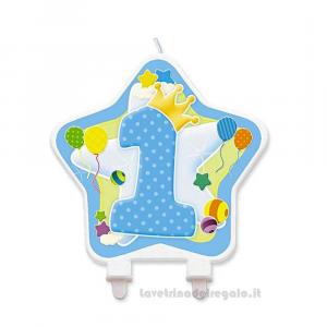 Candelina Stella celeste in cera Primo Compleanno bimbo 12 cm - Party torta