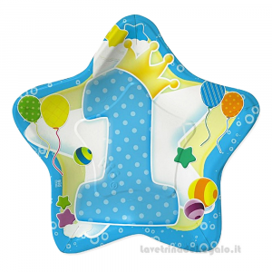 10 pz - Piatti Stella celeste Primo Compleanno bimbo 24 cm - Party tavola