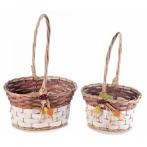 Set due cestini in salice con manico e decori autunnali