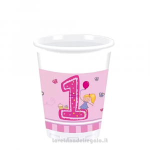 8 pz - Bicchieri rosa Girl First Primo Compleanno bimba - Party tavola
