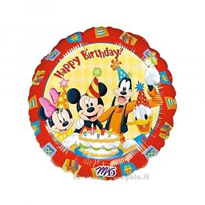 Palloncino Foil Happy Birthday con Topolino 43 cm Compleanno Bimbo - Party allestimento