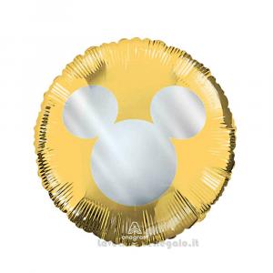 Palloncino Foil Oro con Topolino Argento 45 cm Compleanno Bimbo - Party allestimento