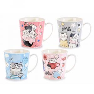 Tazza mug in porcellana con decoro Autumn Cat