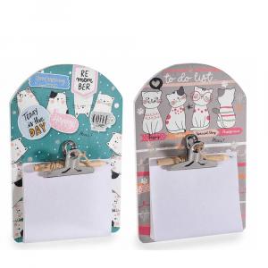 Porta bloc notes da parete Cats life con fogli e matita