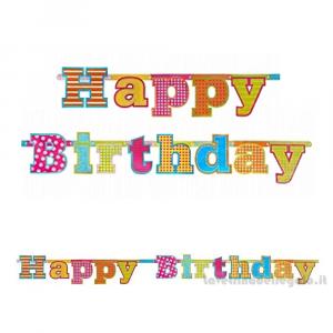 Ghirlanda Happy Birthday multicolore Compleanno bimbi 1.66mt x 16cm - Party allestimento