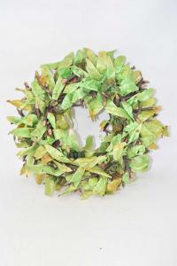 Garland Green Rametti And Leaves Green Diameter 35 Cm
