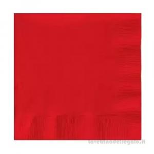 50 pz - Tovaglioli rettangolari rossi di carta 33x33 cm - Party tavola