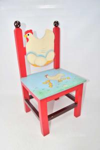 Sedia Per Bambini In Legno Dipinta A Mano Galllina H 45 Cm