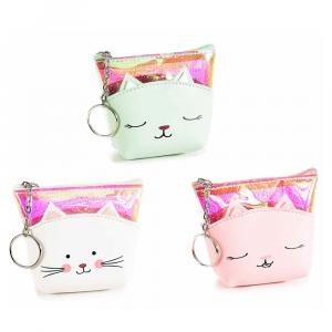 Astuccio portamonete gatto similpelle glitter e portachiavi
