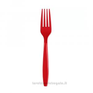 24 pz - Forchette rosse Classic Red in plastica - Party tavola