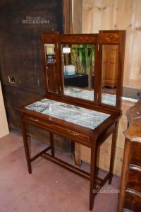 Toelette Mobile In Legno Con Specchio E Marmo Grigio Vintage