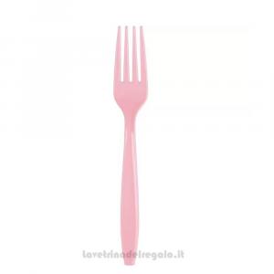 24 pz - Forchette rosa chiaro Classic Pink in plastica - Party tavola