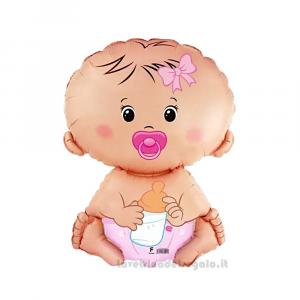 Palloncino Foil Baby Girl Battesimo e Compleanno Bimba 35 cm - Party allestimento