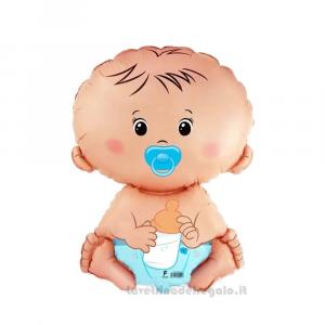 Palloncino Foil Baby Boy Battesimo e Compleanno Bimbo 35 cm - Party allestimento