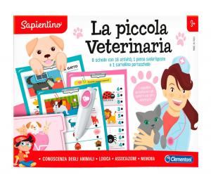 Clementoni -Sapientino - La Piccola veterinaria, quiz, schede attività e penna interattiva parlante animali - gioco educativo
