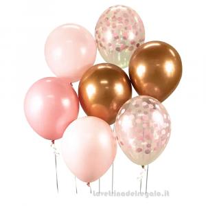 7 pz - Palloncini in lattice rosa e oro Compleanno bimba 30 cm - Party allestimento