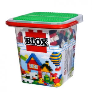 Blox 500 mattoncini per bambini dai 4 anni in su, pietre assortite, 16 finestre, 4 porte, con piastra di base, completamente compatibile, colori assortiti, multicolore