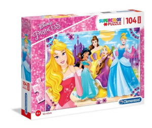 Clementoni-Le Principesse Disney & Sofia Supercolor Puzzle, No Color, 104 Pezzi