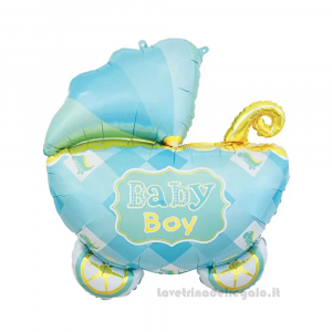 Palloncino Foil sagoma Carrozzina Baby Boy Compleanno Bimbo 60x60 cm - Party allestimento