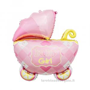 Palloncino Foil sagoma Carrozzina Baby Girl Compleanno Bimba 60x60 cm - Party allestimento