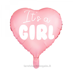 Palloncino Foil cuore rosa It's a Girl Baby Shower 45 cm - Party allestimento