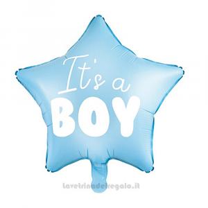 Palloncino Foil stella celeste It's a Boy Baby Shower 48 cm - Party allestimento