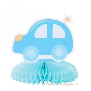Centrotavola con Automobilina celeste Compleanno bimbo 14 cm - Party tavola