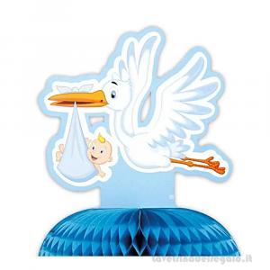 Centrotavola con Cicogna celeste con bebè Nascita bimbo 28x32 cm - Party tavola