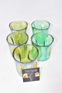 Glasses Glass Murano Yalos Green 5 Pieces New The