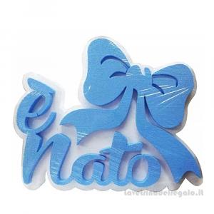 Decorazione azzurra E' Nato in polistirolo Nascita bimbo 35x25 cm - Party allestimento