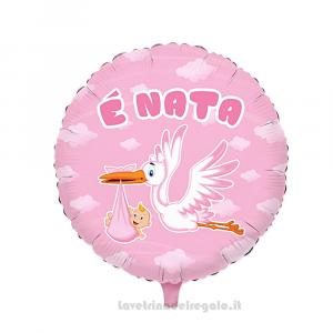 Palloncino Foil Nuvola rosa con Cicogna E' Nata Nascita bimba 45 cm - Party allestimento