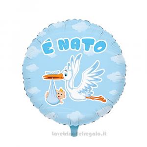 Palloncino Foil celeste E' Nato con Cicogna Nascita bimbo 45 cm - Party allestimento