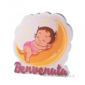 Decorazione Benvenuta Bebè sulla luna Nascita bimba 34.5x34.5 cm - Party allestimento