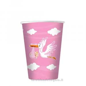 8 pz - Bicchieri Nuvola rosa con Cicogna Nascita bimba - Party tavola